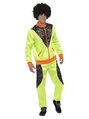Smiffys Men's Retro Shell Suit Costume, Neon Green, Large ()
