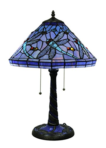 Metal & Glass Table Lamps Beautiful Blue Twin Bulb Stained Glass Dragonfly Table Lamp 15.5 X 22 X 15.5 Inches Blue Model # UL301 by Zeckos