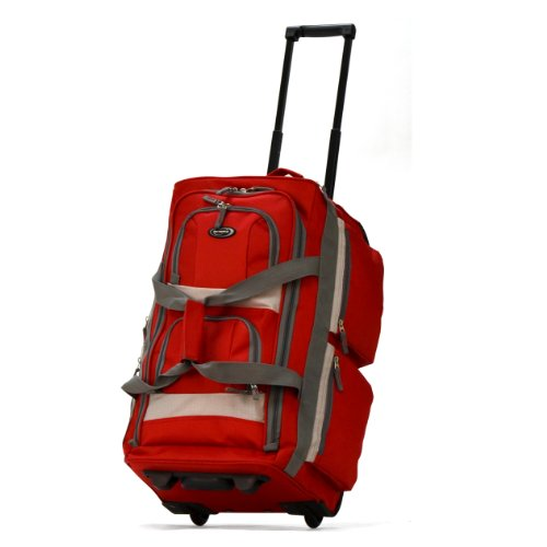 (Olympia 8 Pocket Rolling Duffel Bag, Red)