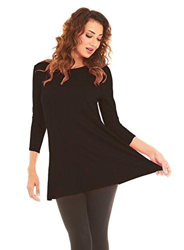 Women's 3/4 Sleeve Flowy Tunic Top, Wide Neck Lightweight, By Velucci