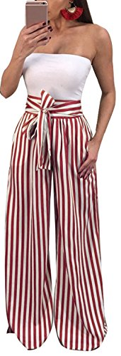Ybenlow Women's Vertical Striped High Waist Stretch Wide Leg Long Bottom Pallazo Capris Pants with Waist Tie Red (Tie Bottom Pants)