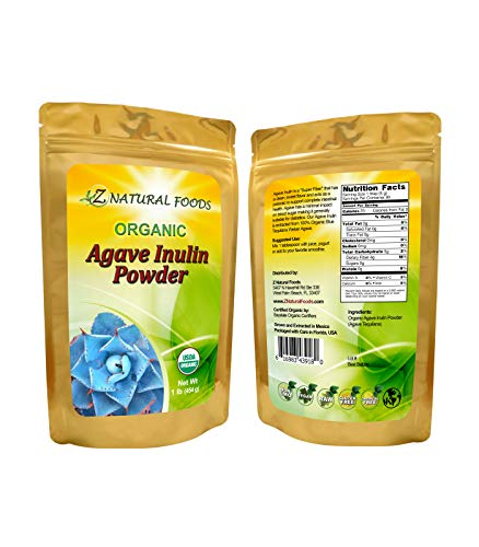 Organic Agave Inulin Powder – All Natural Fiber Supplement – Prebiotic Superfood for Drinks, Smoothies and Recipes – Great for Cooking or Baking – Raw, Non GMO, Gluten Free, Kosher – 1 lb