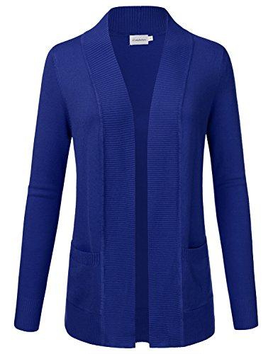 JJ Perfection Women's Open Front Knit Long Sleeve Pockets Sweater Cardigan RoyalBlue XL