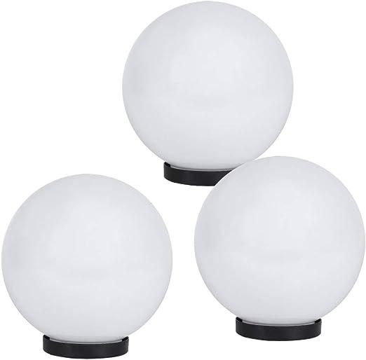 Lhg 3er Set Luminaria, Bombillas Luces Decorativas Blanco IP65 3x Bola Ø 20 Lámpara de Jardín Exterior Terraza Jardín LED 230 Voltios Bombillas Bola con Placa Inferior Luz para E27 Bombilla: Amazon.es: