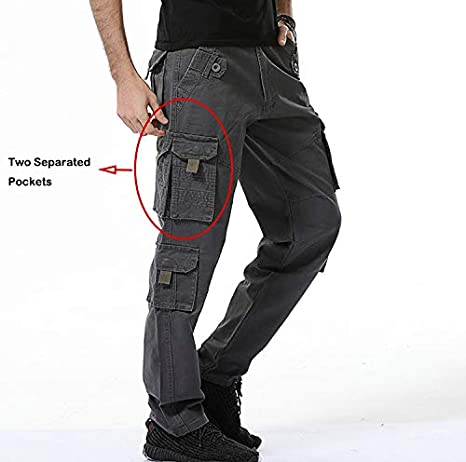 Sunshey Mens Casual Combat Cargo Pants Trousers Loose Cotton Work Wear Camouflage Trousers
