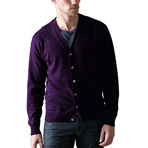 Parisbonbon Men's 100% Cashmere V-Neck Cardigan Color Dee...