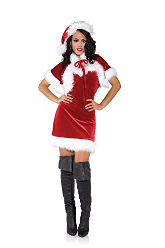 Holiday Adult Merry Costumes (Underwraps Women's Merry, Red/White,)