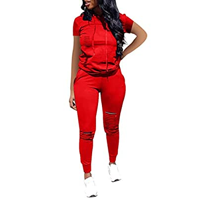 Women Casual 2 Piece Sport Outfits Short Sleeve Ripped Hole Pullover Hoodie Sweatpants Set Jumpsuits at Women's Clothing store