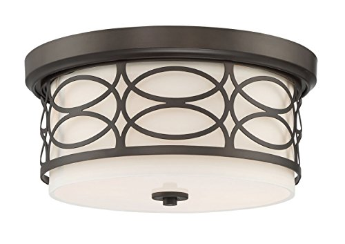 "Kira Home Sienna 13"" Modern 2-Light Flush Mount Ceiling Light + Round Frosted Glass Diffuser, Oil-Rubbed Bronze Finish"