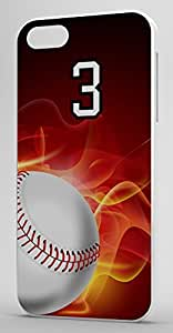 Flaming Baseball Sports Fan Player Number 3 White Rubber Decorative iphone 5c Case