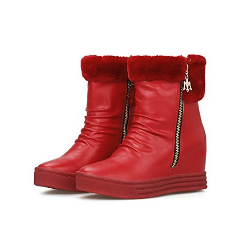 AmoonyFashion Womens Round-Toe Closed-Toe High-Heels Boots With Side Zipper and Heighten Increasing Red f9zYqD