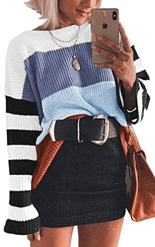 ECOWISH Women Knit Sweaters Color Block Striped Pullover Long Sleeve Scoop Neck Sweater Top Blue Medium (New Knits On The Block)