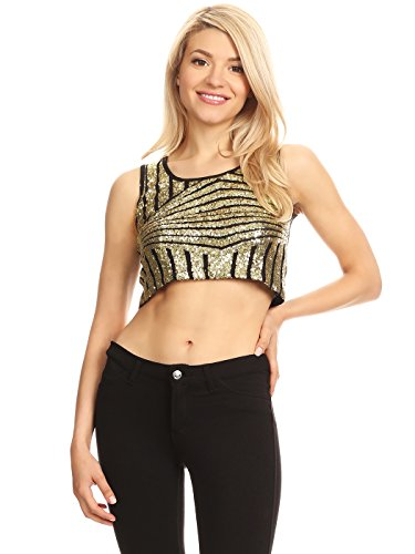 Anna-Kaci Womens Sparkle Stripe Front Sequin Slim Fit Cropped Vest Tank Tops, Gold, Medium ()
