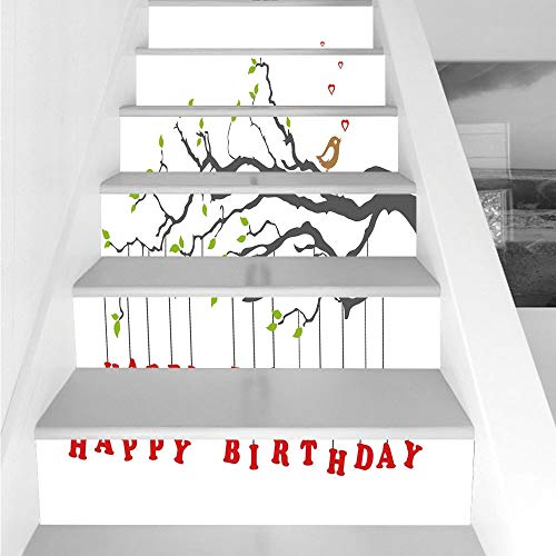 Stair Stickers Wall Stickers,6 PCS Self-adhesive,Birthday Decorations,Letters Hanging from Branch with Leaves Cute Bird Hearts,Charcoal Grey Green Red,Stair Riser Decal for Living Room, Hall, Kids Roo -