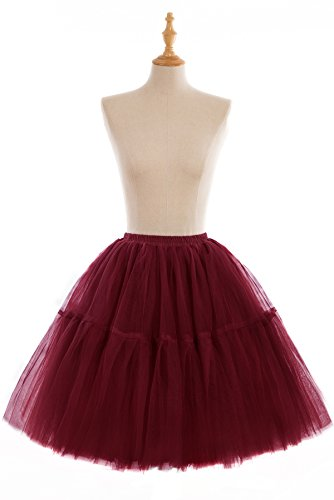 MisShow Women's Short A-line Multi-Layer Ruffle Petticoat Tutu Skirt Burgundy