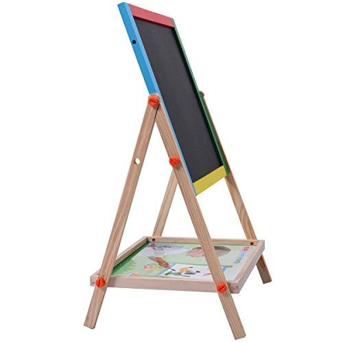 Magnetic Chalkboard Porcelain Black Sides - Adjustable 2 In 1 Wood Easel Chalk Drawing Board Black/White