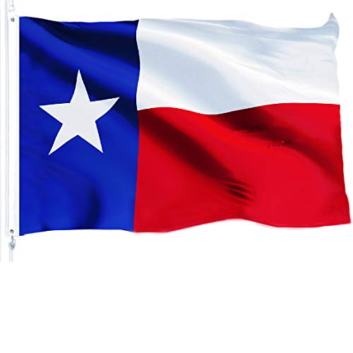 G128 - Texas State Flag | 3x5 feet | Printed 150D - Indoor/Outdoor, Vibrant Colors, Brass Grommets, Quality Polyester, Much Thicker More Durable Than 100D 75D Polyester