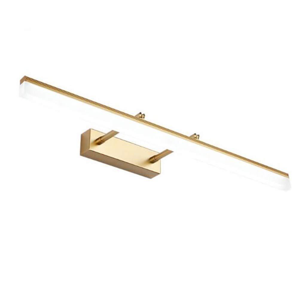 Mkxiaowei Retro-versenkbare LED Eitelkeit Lampe Gold führte Kabinett Lichtleiste Schlafzimmer Badezimmer Spiegel Scheinwerfer Edelstahl Spiegel Frontlicht