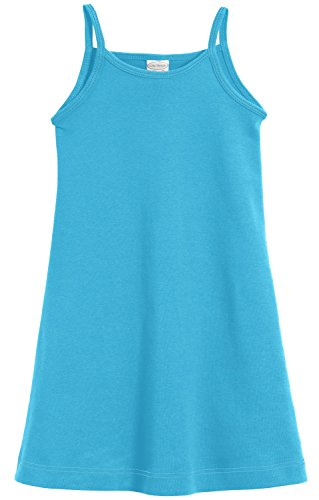 City Threads Big Girls' Summer Dress Cami Camisole Spaghetti Strap Maxi Slip No Sleeve Dress For Sensitive Skin or SPD Sensory Friendly, Turquoise, 7