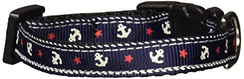 Mirage Pet Products Anchors Nylon Ribbon Collar for Pets, X-Small, Blue