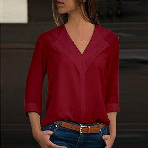 Short Chemisier Unie Longue Mousseline T Shirt Casual Manche Sexy Couleur Vin Femme Taille Rouge Chic Blouse Grande Tops wBqt7nC4x