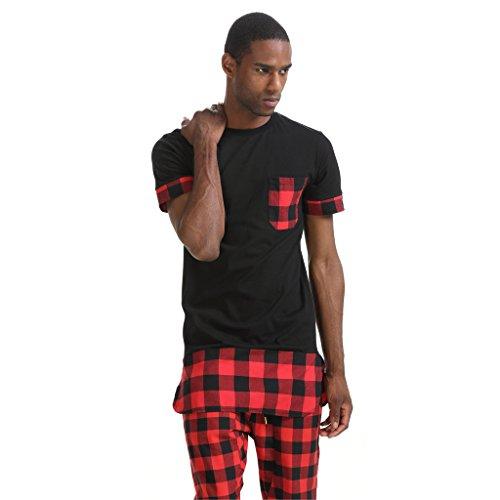 Pizoff Unisex Cashews Hip Hop Side Zip up Extra Long T-shirts P3259