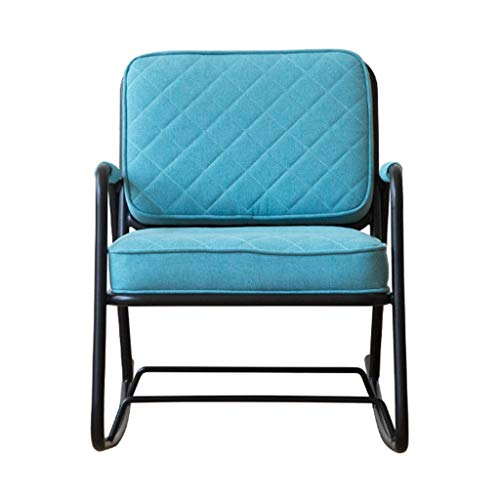(HYYTY-Y Terrace Single Rocking Chair, Wrought Iron Padded Cushion Armchair - Blue 621-YY)