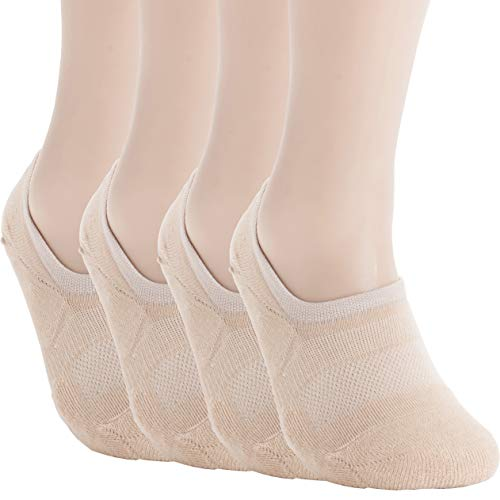 (Pro Mountain Men's Women's No Show Flat Cushion Athletic Cotton Footies Sneakers Sports Socks (M(US Women Shoe 7.5~9.5 = Men 6.5~8.5, size10 Unisex), Beige 4pairs Pack M-size))