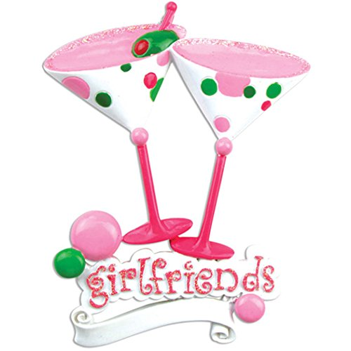 Personalized Girlfriends Martini of 2 Christmas Ornament - Fun Pink Cocktail Glasses Bubbles Glitter Saying - Best Girls Night Out Forever BFF Two Friends Cuddle Scout -Free Customization by Elves (Ornament Girl 2)