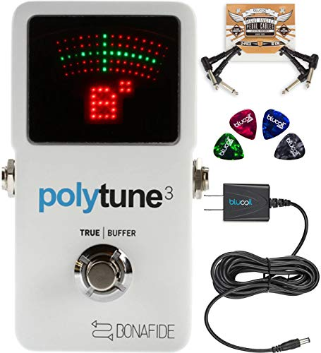 (TC Electronic PolyTune 3 Polyphonic Tuner Built-In Bonafide Buffer Bundle with Blucoil Slim 9V 670ma Power Supply AC Adapter, 2-Pack of Pedal Patch Cables, and 4-Pack of Celluloid Guitar Picks)