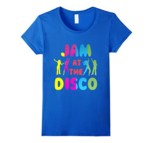 Womens Jam At The Disco T-Shirt | 70s Disco Shirt Small Royal Blue -