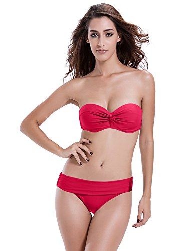 Reteron Women's Foldover Hipster Bottom Push Up Twist Bandeau Bikinis Swimwear (M(us4-6, Freesia) - Twist Front Hipster