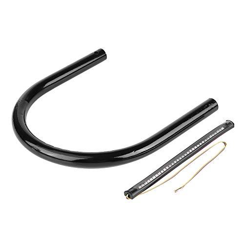 Seat Hoop,Motorcycle Rear Seat Frame Loop Hoop Bracket with LED Light DIY Accessory Black (210mm flat tube):