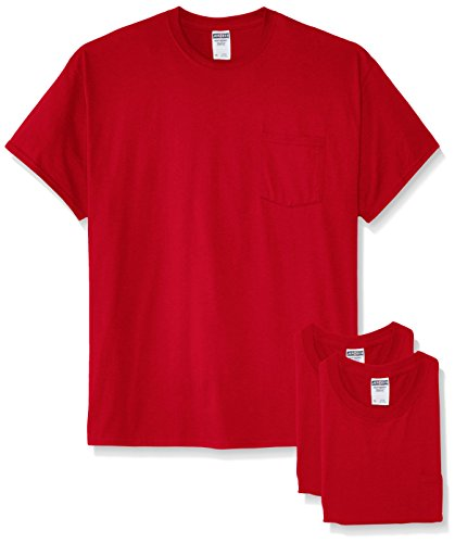 Jerzees Men's White Adult Short-Sleeve Pocket T-Shirts (3-Pack), True Red, X-Large ()