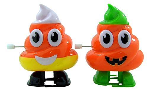 Halloween Oh Poop Emoji Candy Corn and Pumpkin Candy Dispenser, Pack of 2 -