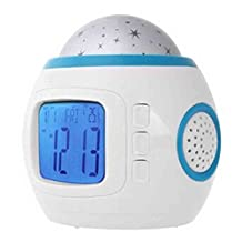 Cellrizon Children Room Colorful Music Sky Star Night Light Projector Lamp Bedroom Alarm Clock