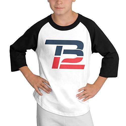 Teens Baseball Jersey Russell-Wilson-Logo 3/4 Sleeve Raglan Baseball T-Shirt Black