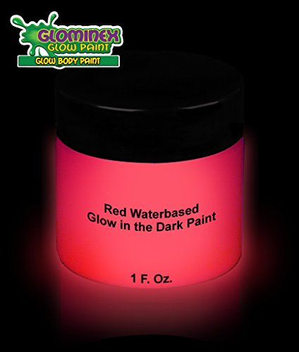 Glominex AD387 Glow in the Dark Face and Body Paint 1 oz Jar - Red (Red Glow In The Dark Paint)
