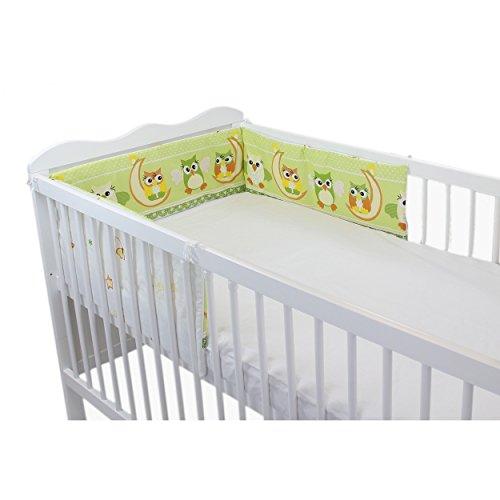 Babybett Nestchen Bettumrandung Nest Kopfschutz 420 cm, 360 cm, 210 cm, 180 cm Bettnestchen Unifarben Motive, Farbe: Eulen 2 Grün, Größe: 180x30cm (für Babybett 120x60)