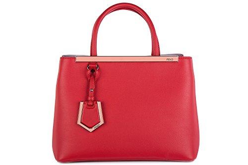 Fendi women's leather handbag shopping bag purse petite 2jours red