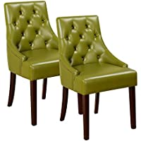 Kings Brand Furniture Tufted Design with Nail Head Trim Accent Chair (Set of 2), Green