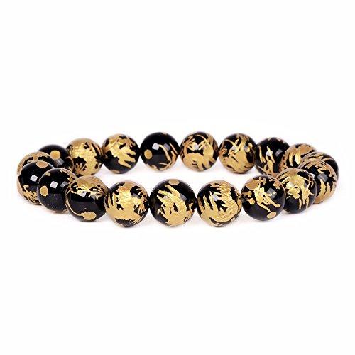 Justinstones Black Agate Gold Dragon Gemstone 10mm Round Beads Stretch Bracelet 7
