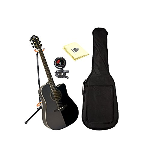Hohner AS355CE-BK A+ Dreadnought Solid Top Cutaway Electric Guitar in Black With Padded Gig Bag, Stand, Tuner and Polishing Cloth