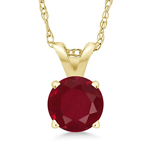 1.00 Ct Round Red Ruby 14K Yellow Gold Pendant With (Gemstone Ruby Necklace)