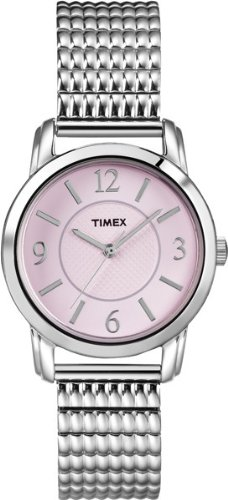 Timex Women's T2N846 Elevated Classics Dress Pink Dial Silver-Tone Expansion Band Watch