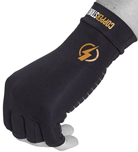 Copper Infused Compression Fingerless Arthritis Gloves Help Relieve Pain in Your Fingers Hand and Wrist | Improve Mobility and Circulation and Resume Normal Activities | by Copperstrike -1 Pair (Skin Fit Glove)