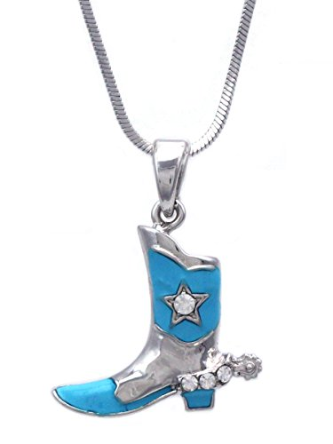 (cocojewelry Western Cowboy Cowgirl Boot Star Spur Pendant Necklace (Silver-tone Aqua))