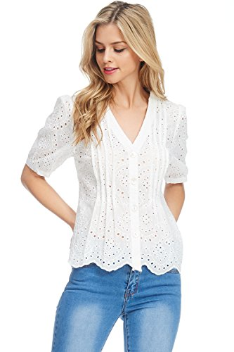 JJ's Fairyland Women's Button Down Eyelet Short Sleeve Top (Eyelet Top)