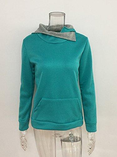 Hoodie Sportivo Patchwork Felpe Camicie Donna con T College Tops shirt Verde Cappuccio Maglietta Lunga clothing Casual Ragazza Pullover COCO Manica Maglia T4qAv8xn
