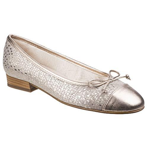 Slip Riva Ledro Gold Suede Printed Ballerina Shoes On Womens Ladies XRvqwAR
